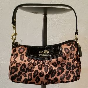 Coach  leopard satin printed evening bag